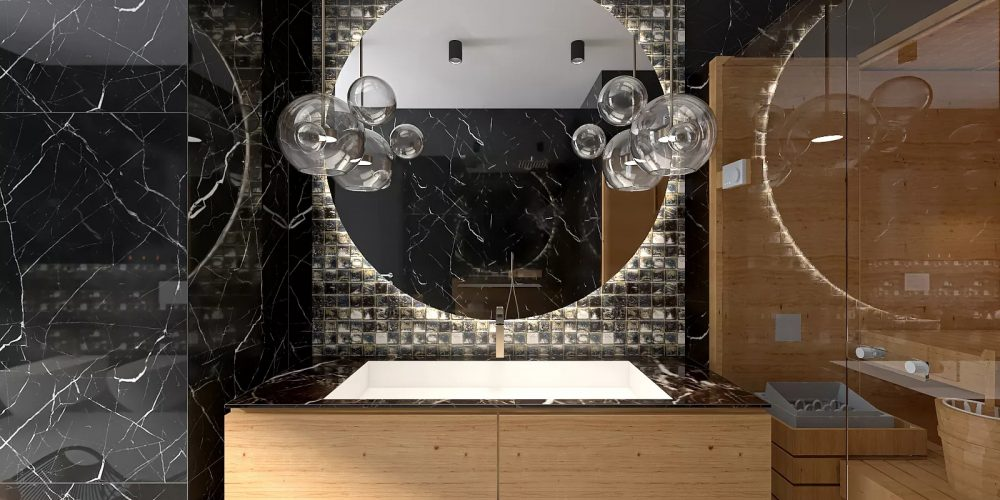 Elegancka łazienka z marmurem